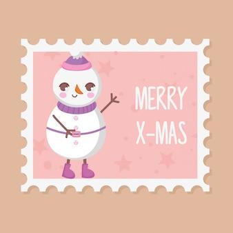 Boneco de neve com chapéu feliz natal carimbo