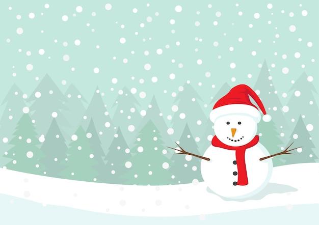 Boneco de neve com chapéu vermelho e cachecol