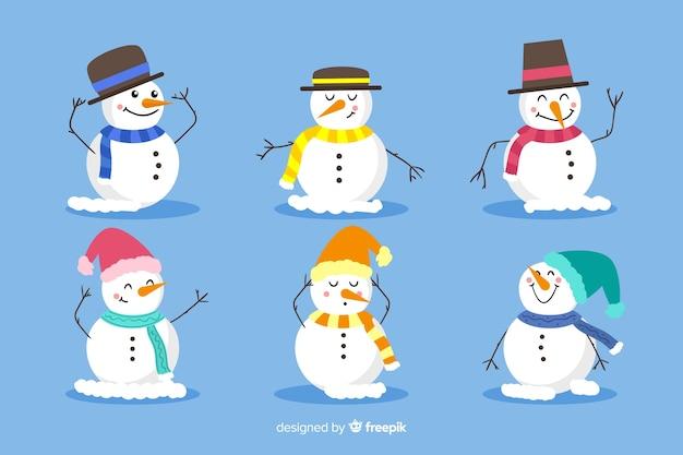 Boneco de neve com design plano de chapéu e lenço