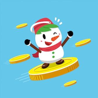 Boneco de neve com grandes moedas