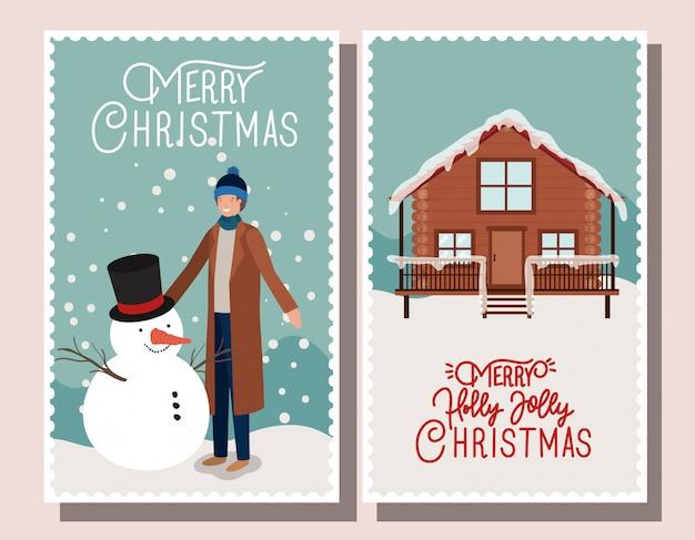 Boneco de neve com homem e casa selos de natal