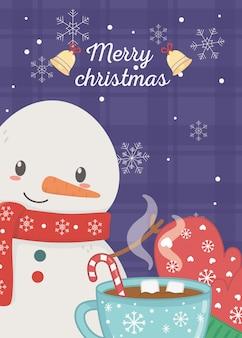 Boneco de neve com luva e chocolate copo cartão de feliz natal