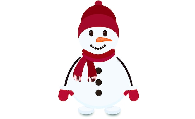Boneco de neve com luvas de chapéu, cachecol e lã