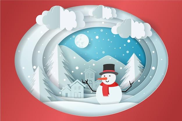 Boneco de neve com neve na aldeia e a lua, nuvem no céu.