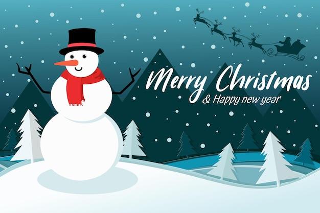 Boneco de neve com papai noel dirigindo seu trenó na floresta. feliz ano novo e concerto de feliz natal. vetor eps 10.