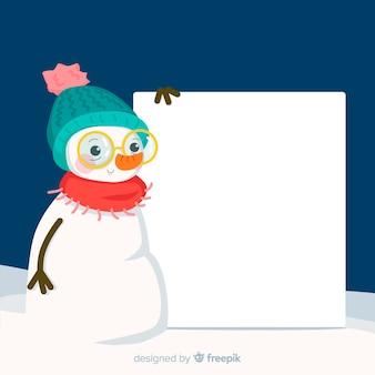 Boneco de neve com placa