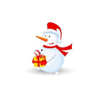 Boneco de neve com presente na mão sobre fundo branco.