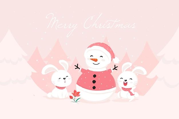 Boneco de neve com roupas e coelhos de papai noel