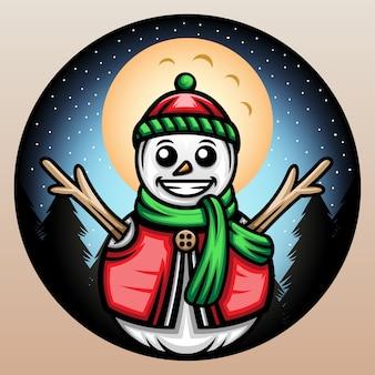 Boneco de neve com um chapéu beanie de inverno.