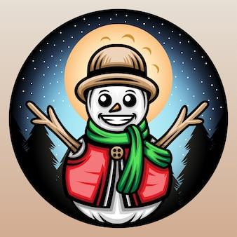 Boneco de neve com um chapéu de palha.