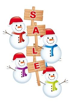 Boneco de neve com venda de anúncio sobre o vetor de fundo branco Vetor Premium
