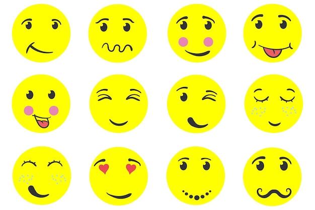 Boneco de neve de cara engraçada conjunto de emoticons engraçados sorriso com expressões cabeças de bonecos de neve desenho desenhado à mão