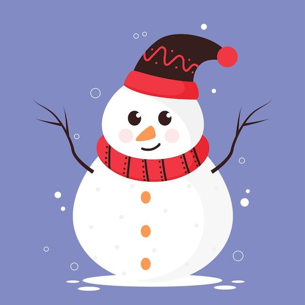 Boneco de neve de desenho animado com chapéu de lã e lenço sobre fundo azul.