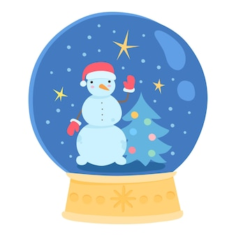 Boneco de neve de natal à noite no ícone de bola de vidro. plano de desenho animado do boneco de neve à noite de natal em ícone de vetor de bola de vidro para web design isolado no fundo branco