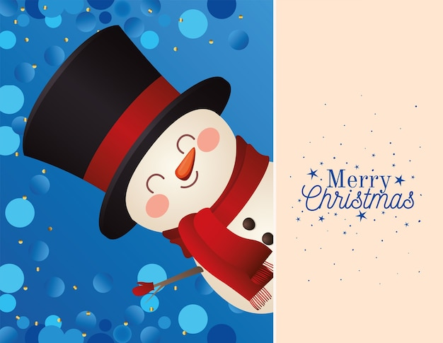 Boneco de neve de natal com cartola e letras de feliz natal