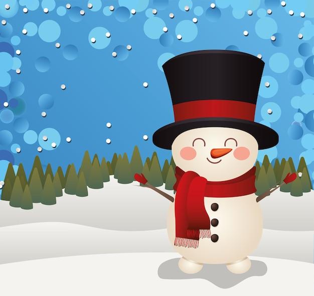Boneco de neve de natal com cartola em uma ilustração de fundo de floresta