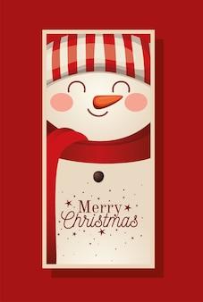Boneco de neve de natal com lenço e ilustração de letras de feliz natal
