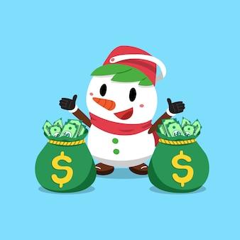 Boneco de neve de natal de desenho de vetor com sacos de dinheiro