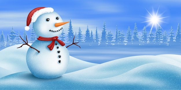 Boneco de neve de natal no fundo de uma paisagem de inverno