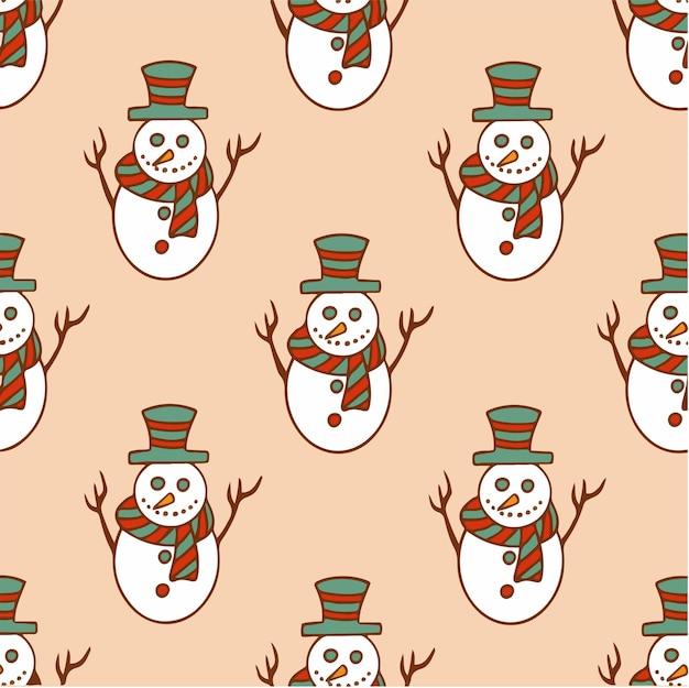 Boneco de neve de natal padrão de fundo social media post ilustração vetorial de decoração de natal