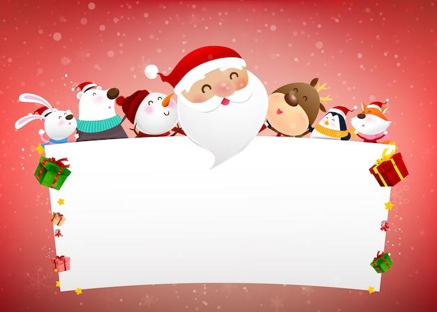 Boneco de neve de natal papai noel e animal cartoon sorriso