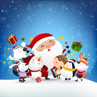 Boneco de neve de natal papai noel e desenhos animados de animais