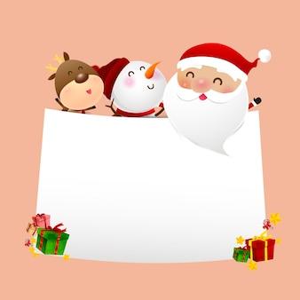 Boneco de neve de natal papai noel sorriso de desenho animado