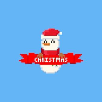 Boneco de neve de pixel com fita vermelha