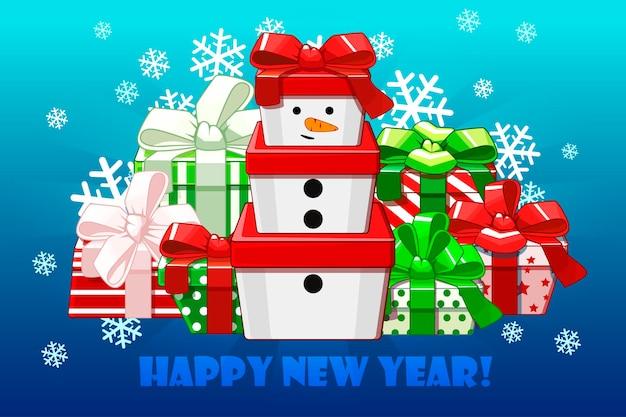 Boneco de neve de presente bonito presentes diferentes de feliz natal embalagem criativavetor de fundo
