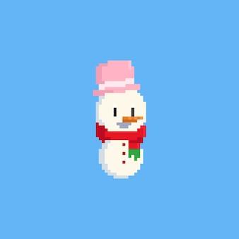 Boneco de neve do sorriso do pixel. Vetor Premium