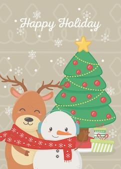 Boneco de neve e rena com ilustração de presentes de árvore