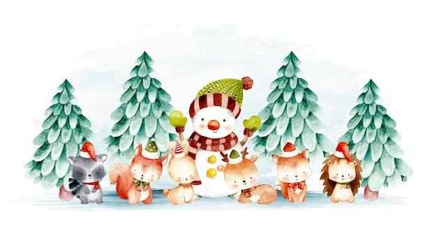 Boneco de neve em aquarela e animal da floresta de natal