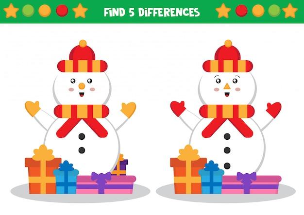 Boneco de neve, encontre diferenças. planilha educacional para crianças