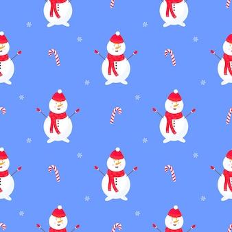 Boneco de neve engraçado com chapéu e lenço. padrão sem emenda de natal e ano novo.