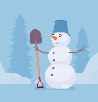 Boneco de neve engraçado parado com pá