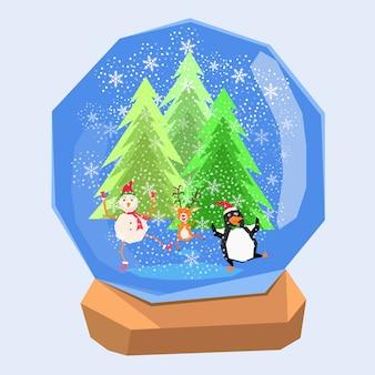 Boneco de neve engraçado rena e pinguim na cena de neve de natal bola de água cristalina