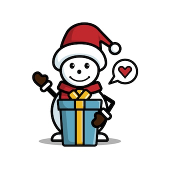 Boneco de neve feliz com chapéu e presente isolado no fundo branco