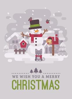 Boneco de neve feliz com gatinho em uma aldeia de inverno nevado. cartão de natal plana illustra
