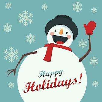 Boneco de neve feliz cumprimenta você