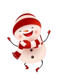 Boneco de neve feliz em boné e cachecol pulando ilustração
