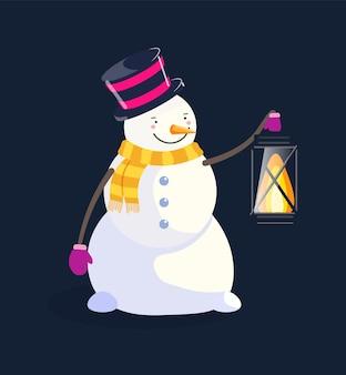 Boneco de neve fofo com cartola segurando uma lanterna isolada no preto