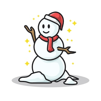 Boneco de neve fofo com chapéu e lenço na ilustração de arte de linha fofa