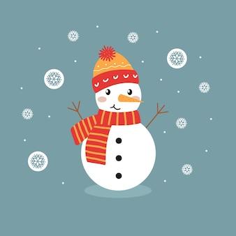 Boneco de neve fofo com um chapéu quente e um lenço sobre um fundo azul com flocos de neve
