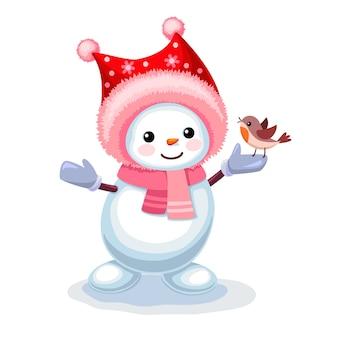 Boneco de neve fofo com um passarinho na mão