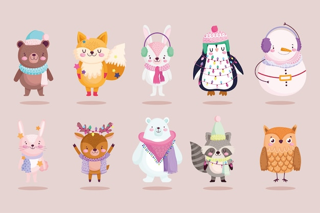 Boneco de neve fofo de natal coelho pinguim raposa urso e coruja animais cartoon ilustração