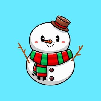 Boneco de neve fofo, personagem de desenho animado