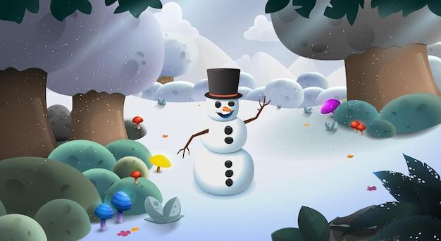 Boneco de neve fundo de neve de inverno com montanhas e árvores