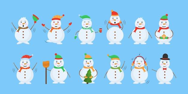 Boneco de neve. homem de neve engraçado usando chapéu, lenço e luvas. personagens Vetor Premium