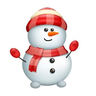Boneco de neve isolado no branco