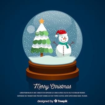 Boneco de neve liso árvore de natal natal bola de neve